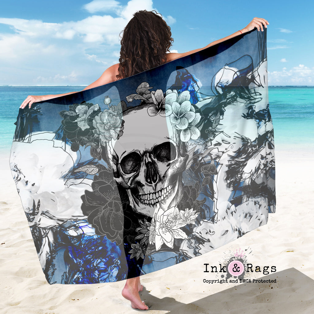 Large Sheer Abstract Blue Flower Skull Scarf, Sarong, Shawl