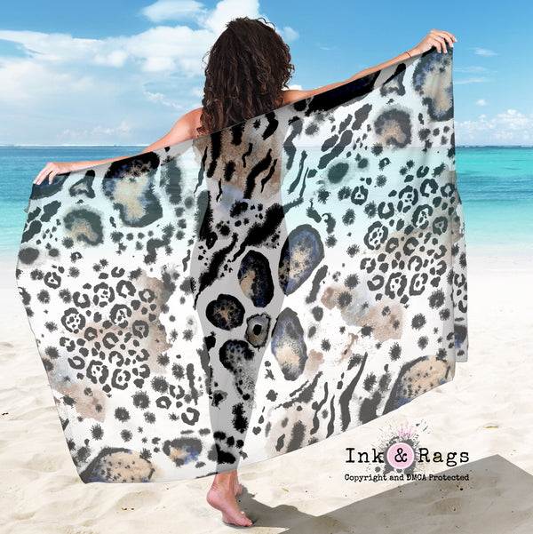 Large Sheer Watercolor Snow Leopard Scarf, Sarong, Shawl