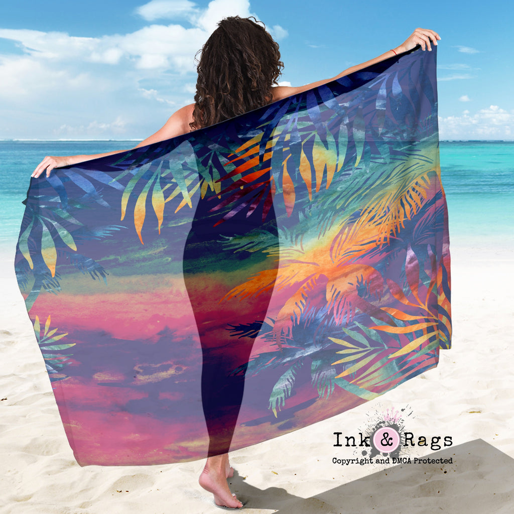 Large Sheer Abstract Tropical Sunset Scarf, Sarong, Shawl