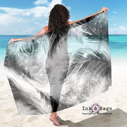 Large Sheer BOHO Black Feather Scarf, Sarong, Shawl