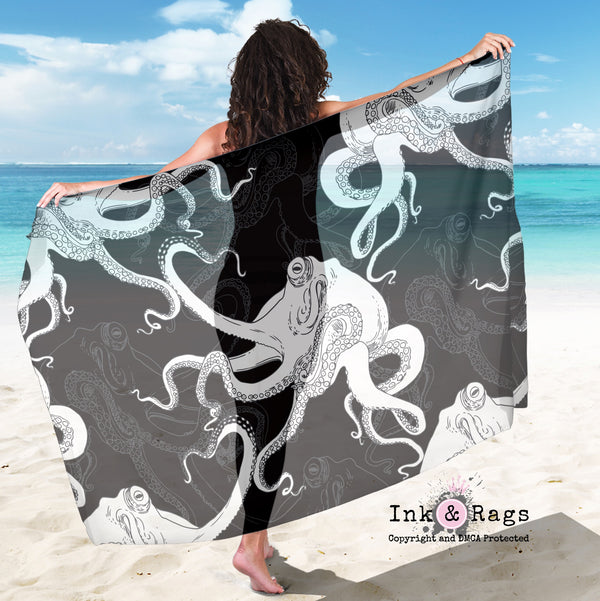 Large Sheer Black and White Octopus Skull Scarf, Sarong, Shawl