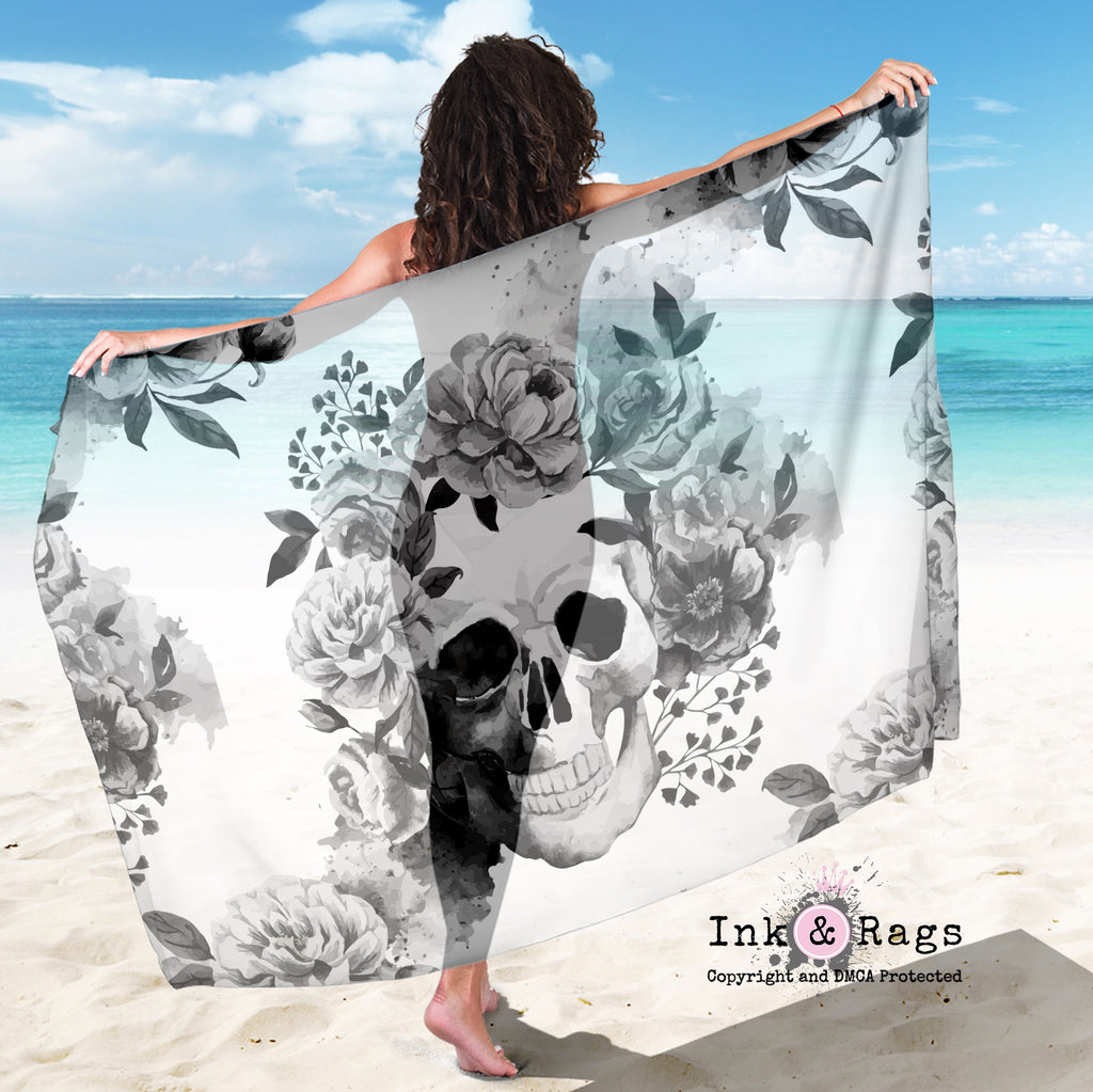 Large Sheer Black and White Watercolor Flower Skull Scarf, Sarong, Shawl