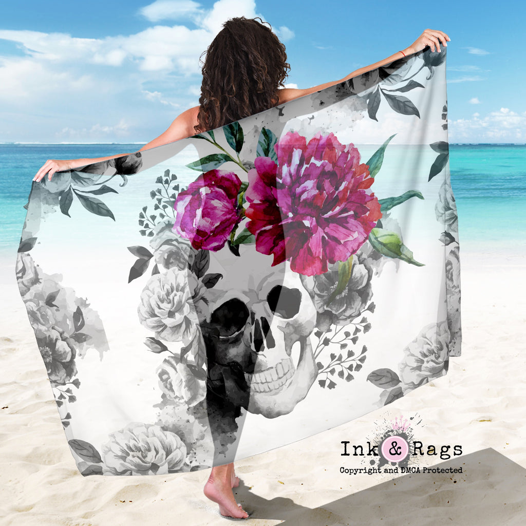 Large Sheer Pink Watercolor Flower Skull Scarf, Sarong, Shawl