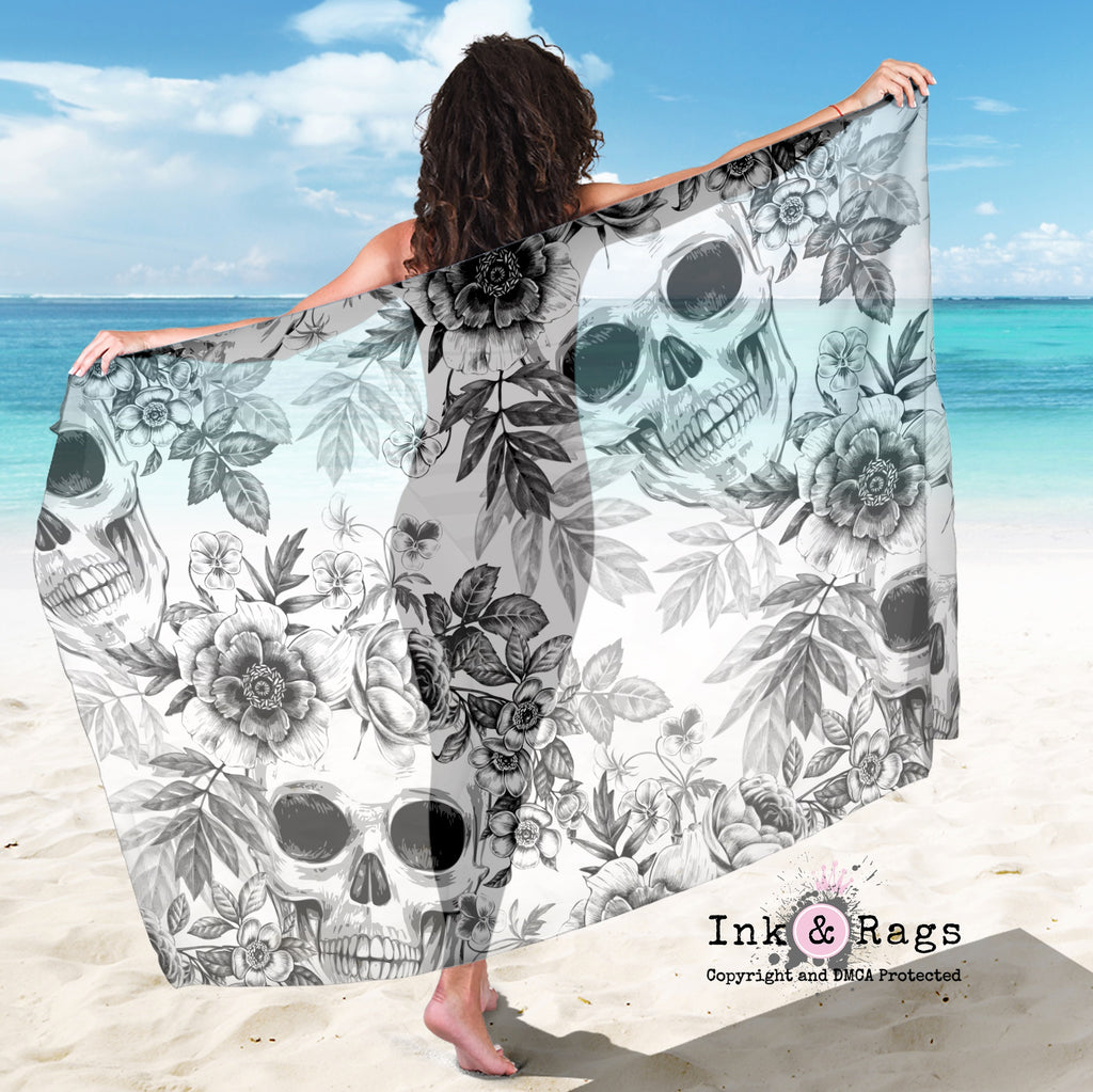 Large Sheer Blackprint on White Skull and Flower Scarf, Sarong, Shawl