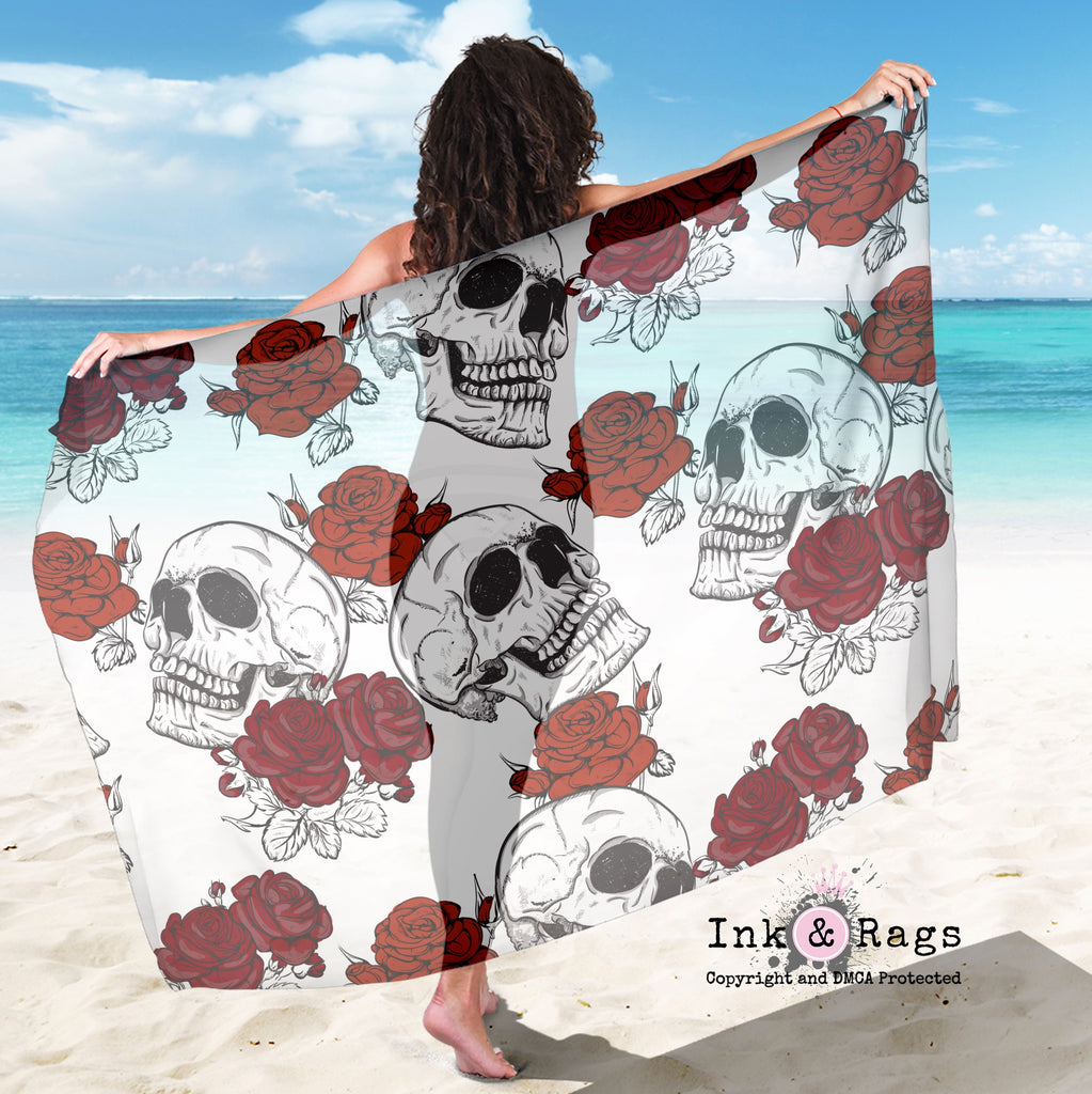 Large Sheer Shades of Red Rose Skull Scarf, Sarong, Shawl
