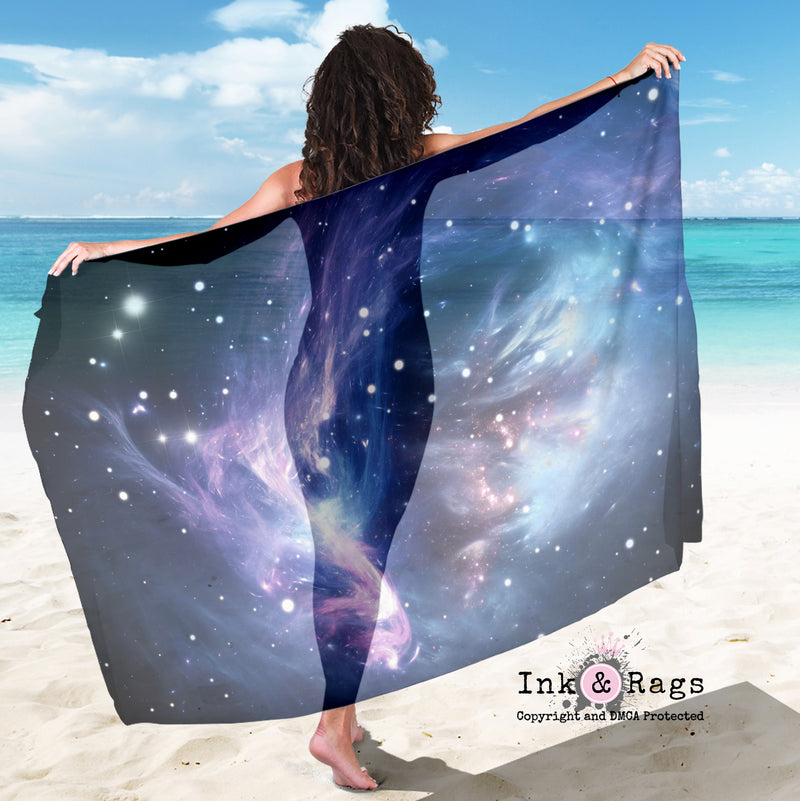 Large Sheer Galaxy Cosmos Scarf, Sarong, Shawl