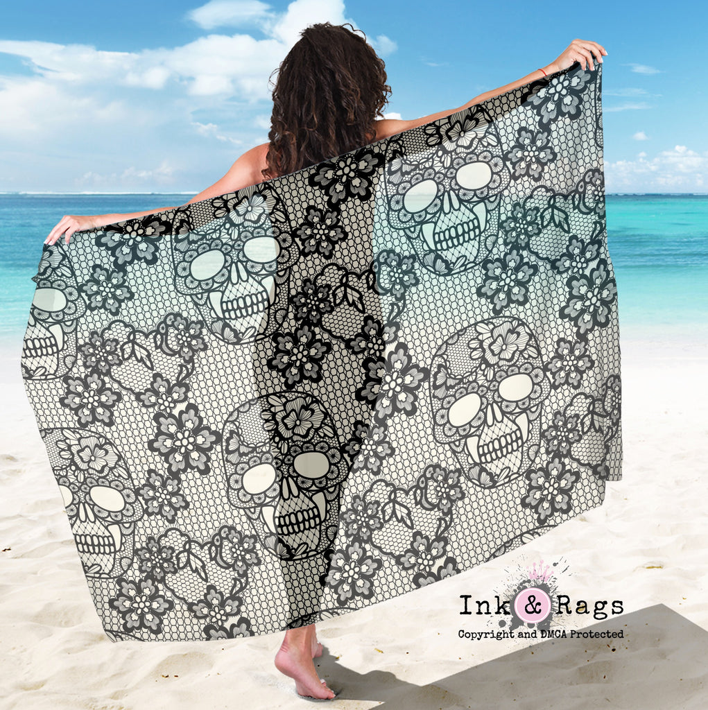 Large Sheer Black and Cream Lace Skull Scarf, Sarong, Shawl