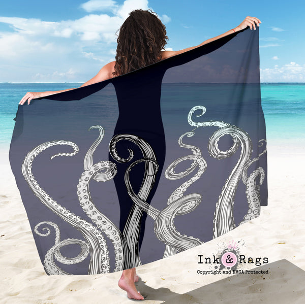 Large Sheer Royal Blue Octopus Tentacle Scarf, Sarong, Shawl