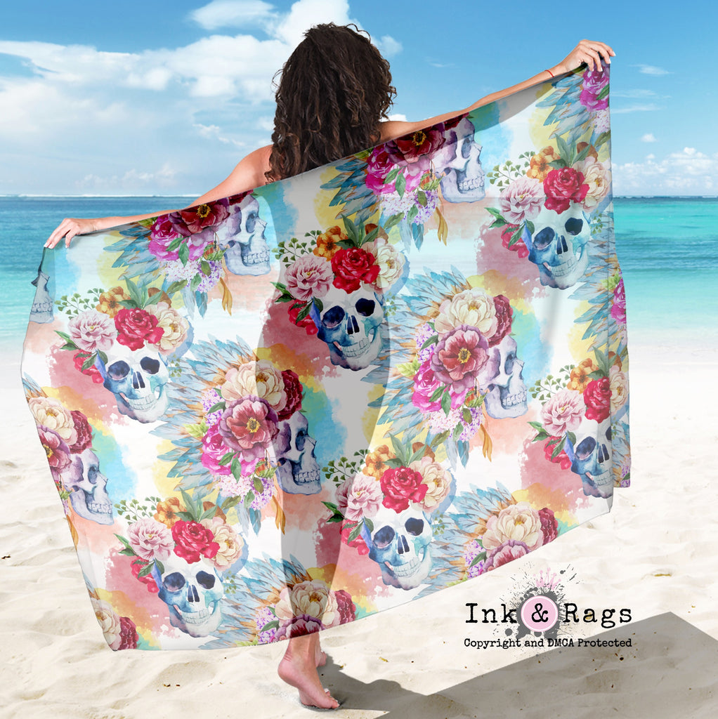 Large Sheer Colorful Small Print Bohemian Skull and Flower Scarf, Sarong, Shawl