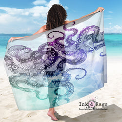 Large Sheer Watercolor Octopus Scarf, Sarong, Shawl