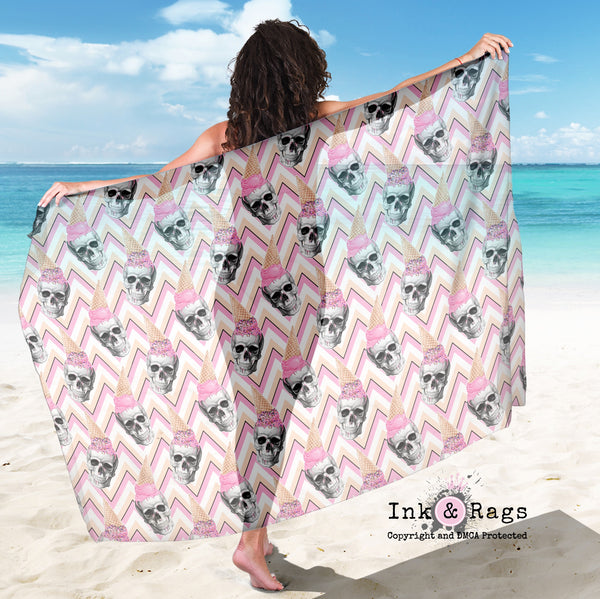 Large Sheer Ice Cream Skull Scarf, Sarong, Shawl