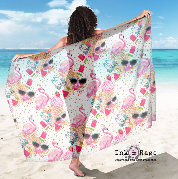 Large Sheer Flamingo Summer Gold Confetti Scarf, Sarong, Shawl