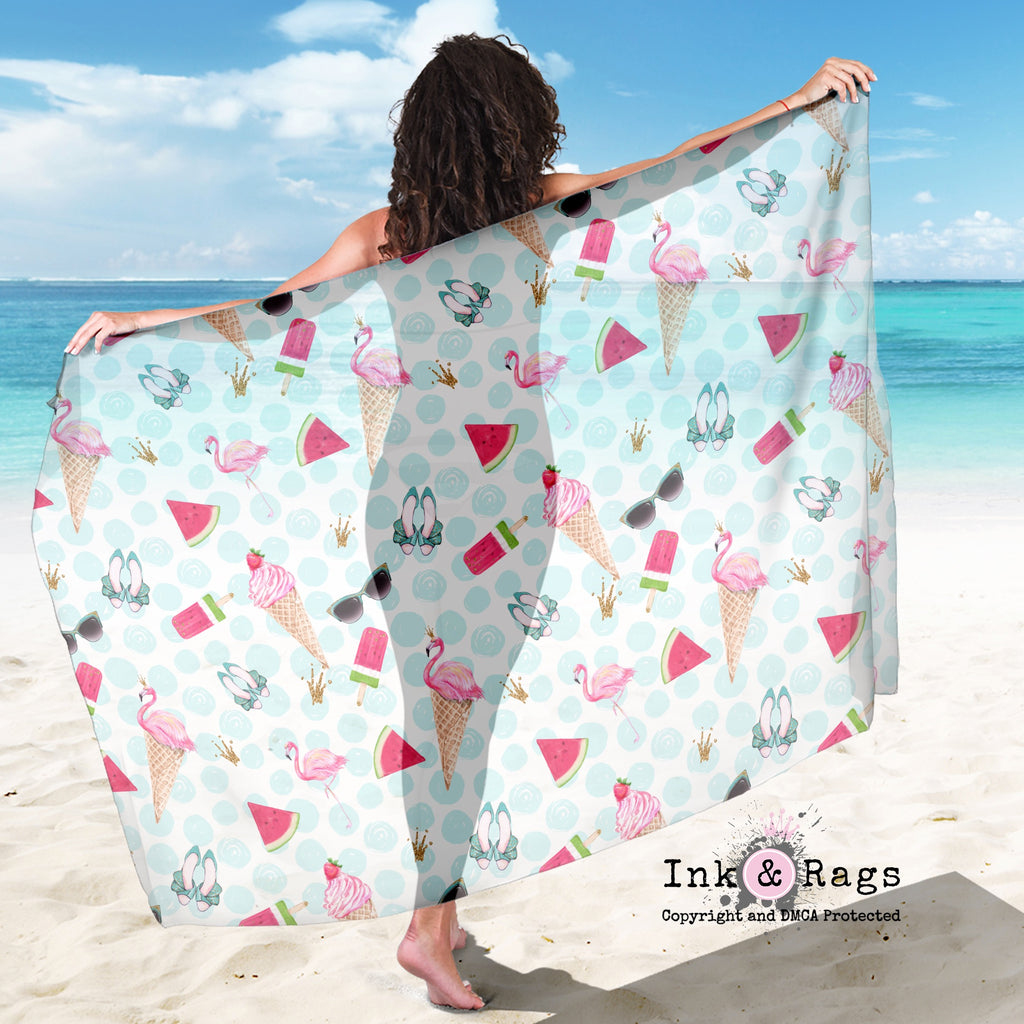 Large Sheer Flamingo Summer Blue Dot Scarf, Sarong, Shawl
