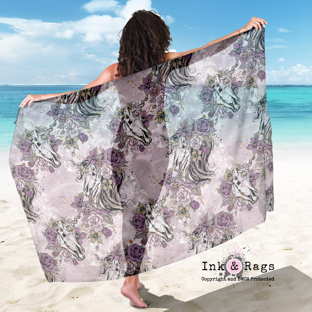 Large Sheer Purple Rose Unicorn Skull Scarf, Sarong, Shawl