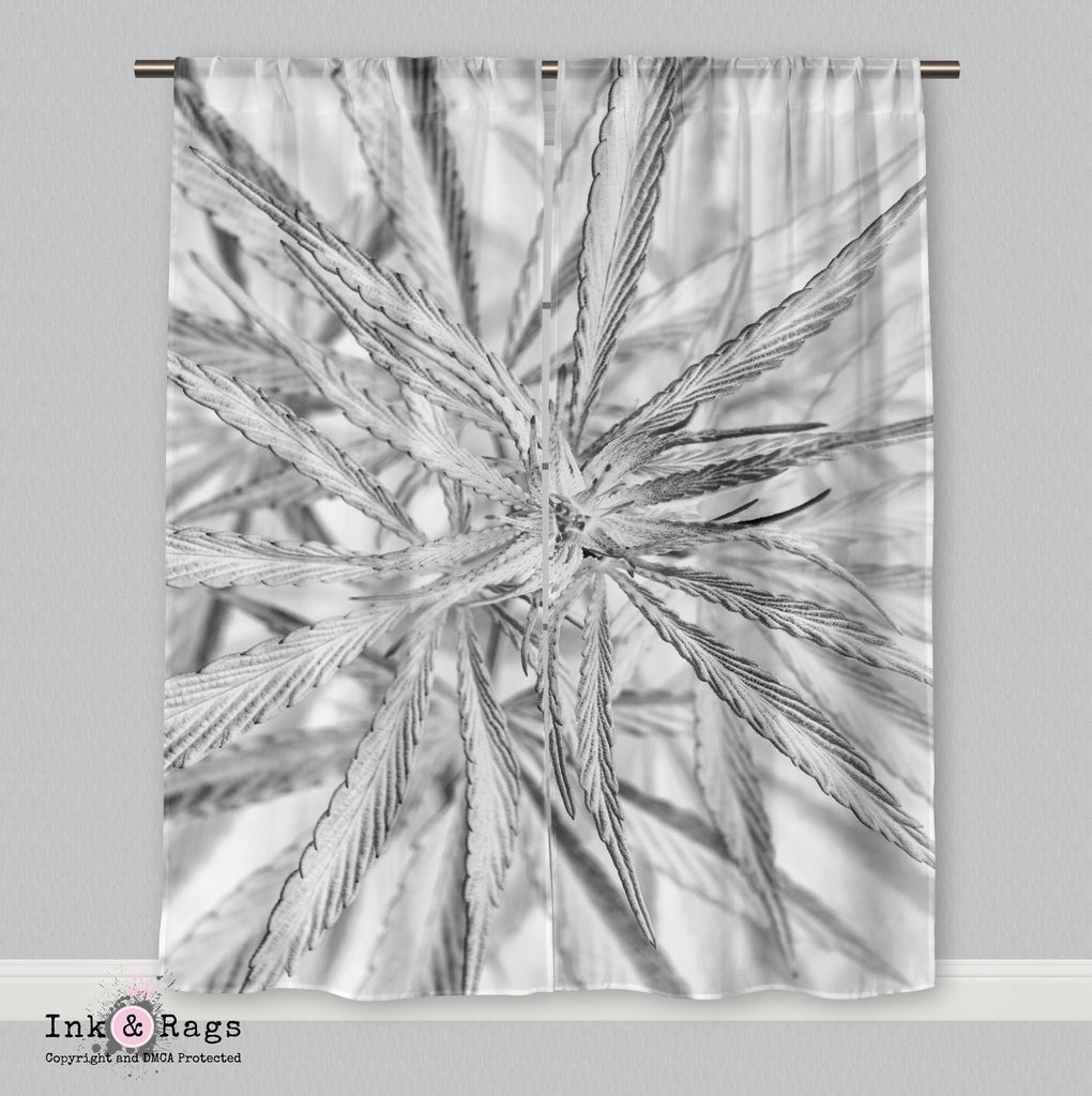 Black and White Cannabis Marijuana Curtains