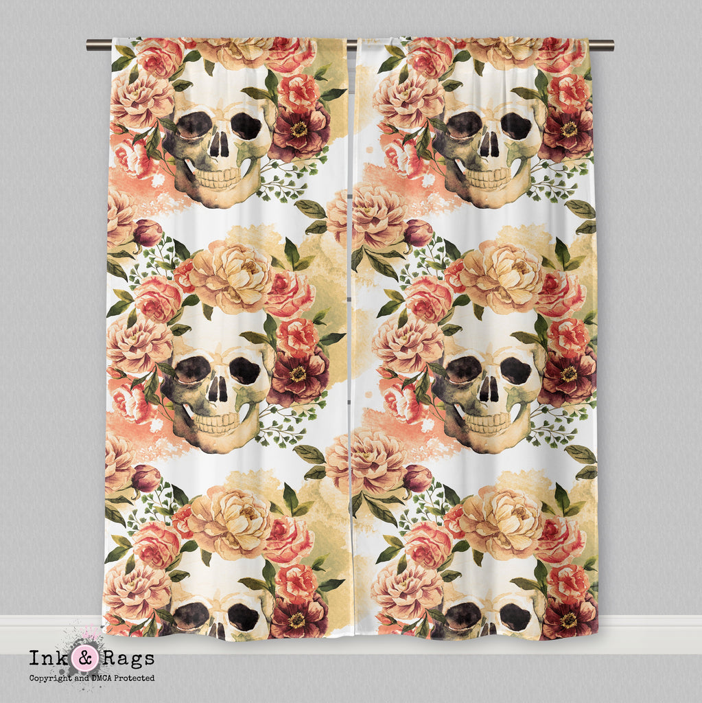 Golden Watercolor Skull Curtains