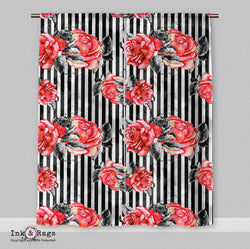 Hollywood Red Rose Stripe Marilyn Curtains