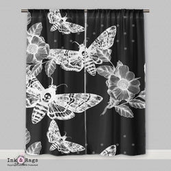 White on Black Death Moth and Flower Curtains