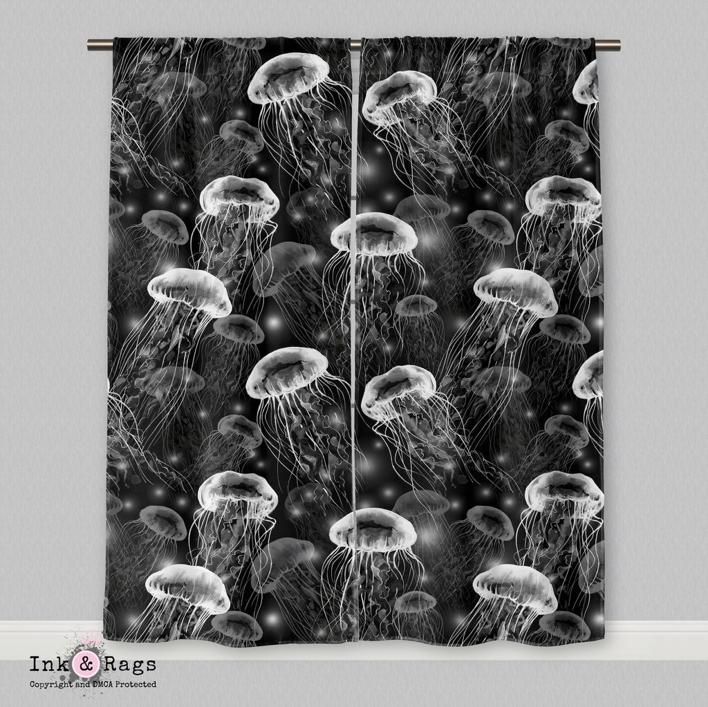 White on Black Jellyfish Curtains