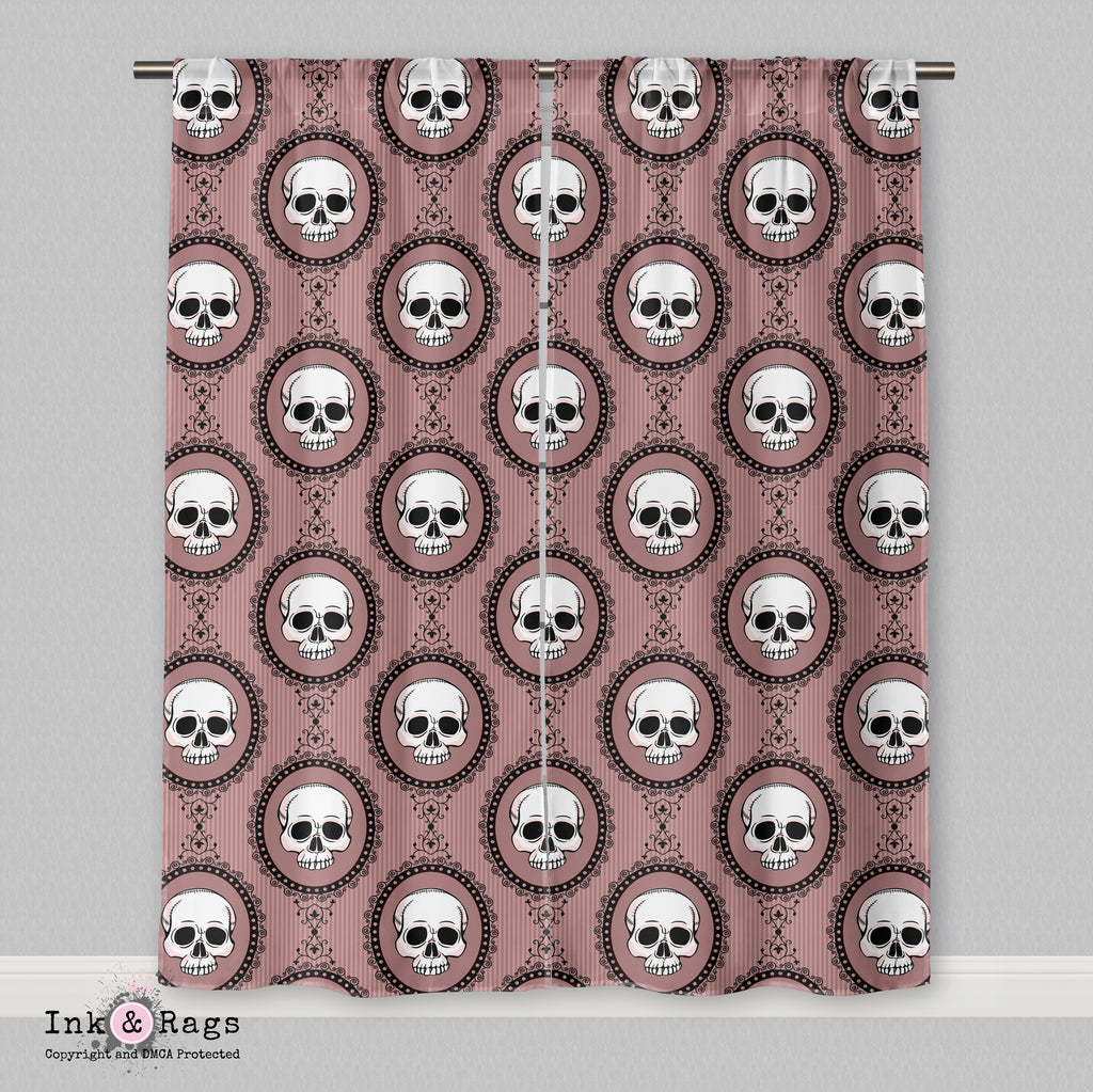 Pink Cameo Skull Curtains