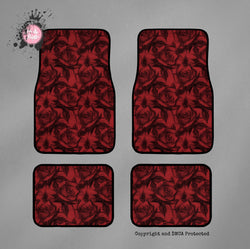 Black and Red Pencil Sketch Rose Car Mats