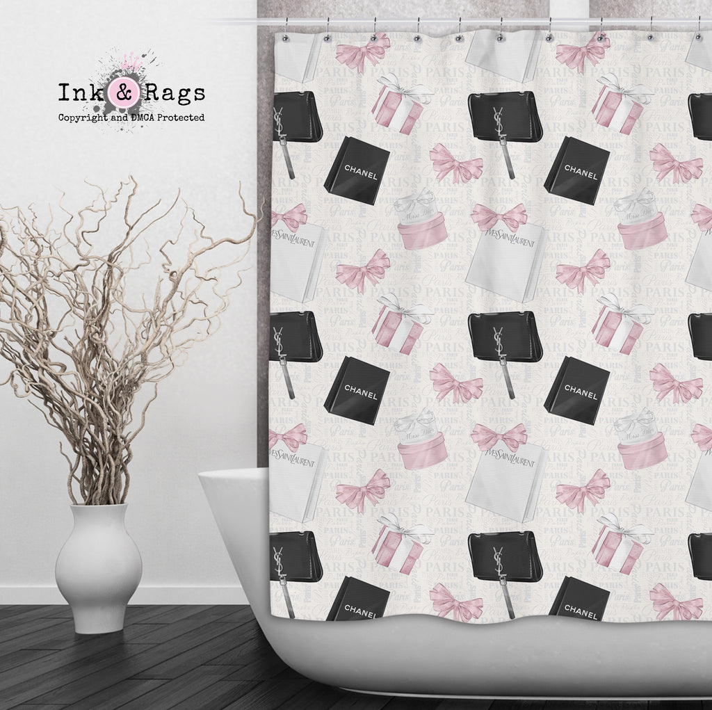 Shopping Spree Paris Text Fashion Shower Curtains and Optional Bath Mats