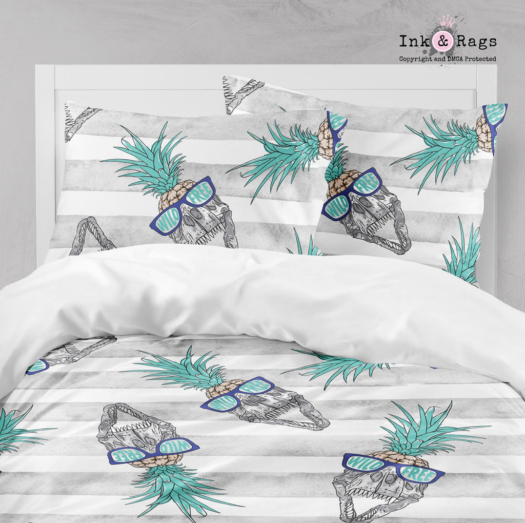 Wild and Free T-Rex Skull Pineapple Head Dinosaur Big Kids Bedding