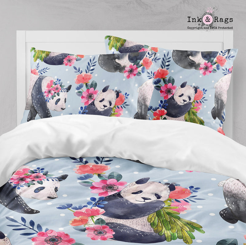 Pandas and Polka Dots Pink Flower Bedding