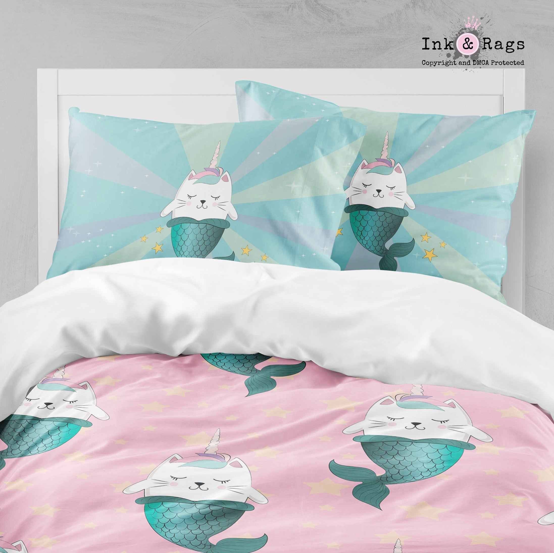 Cute Mermaid Cat Print Details about  /Unicorn Cat Quilted Bedspread /& Pillow Shams Set