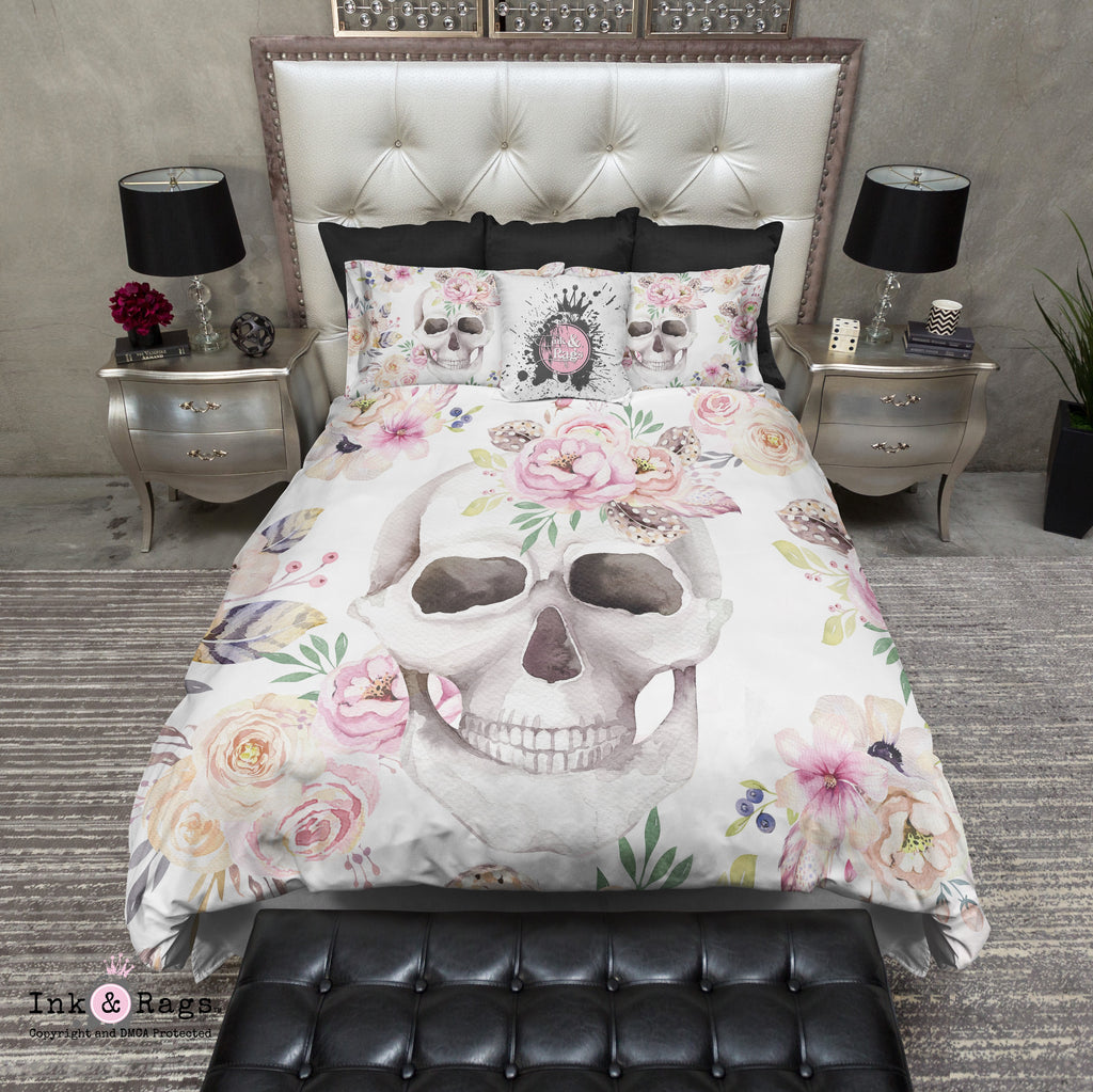 Spring Bouquet Watercolor Skull Bedding Collection
