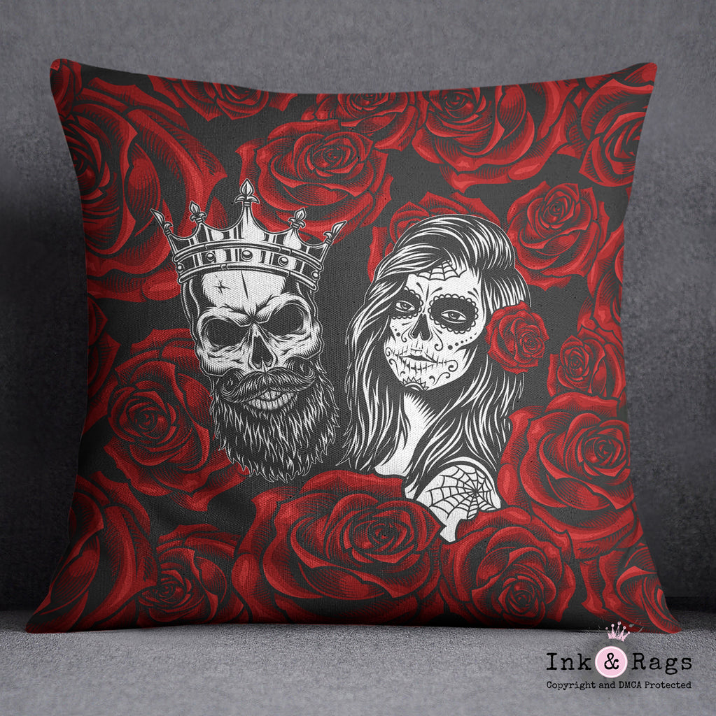 Day of the Dead Red Rose King and Queen Sugar Skull Throw Pillow