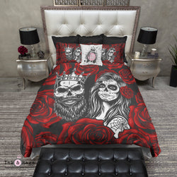 Day of the Dead Red Rose King and Queen Sugar Skull Bedding