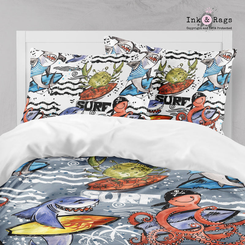 Surf Friends Shark Octopus and Crab Big Kids Bedding