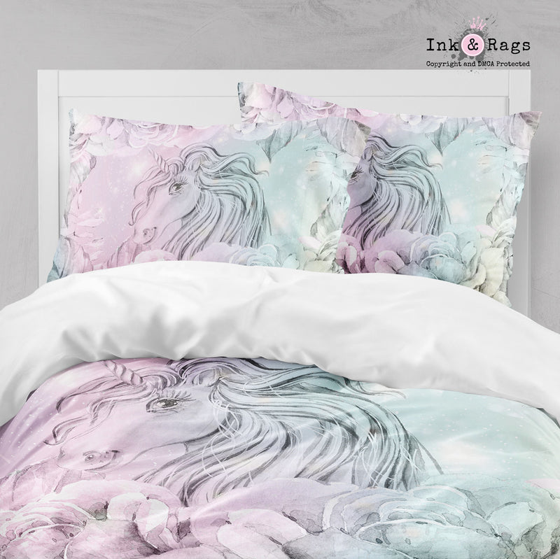 Watercolor Unicorn Cotton Candy Color Big Kids Bedding