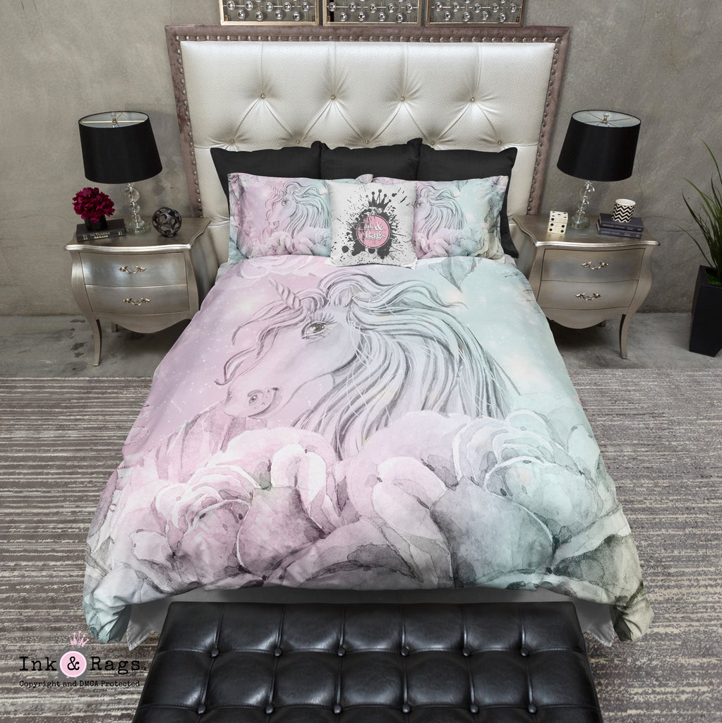 Watercolor Unicorn Cotton Candy Color Bedding Collection