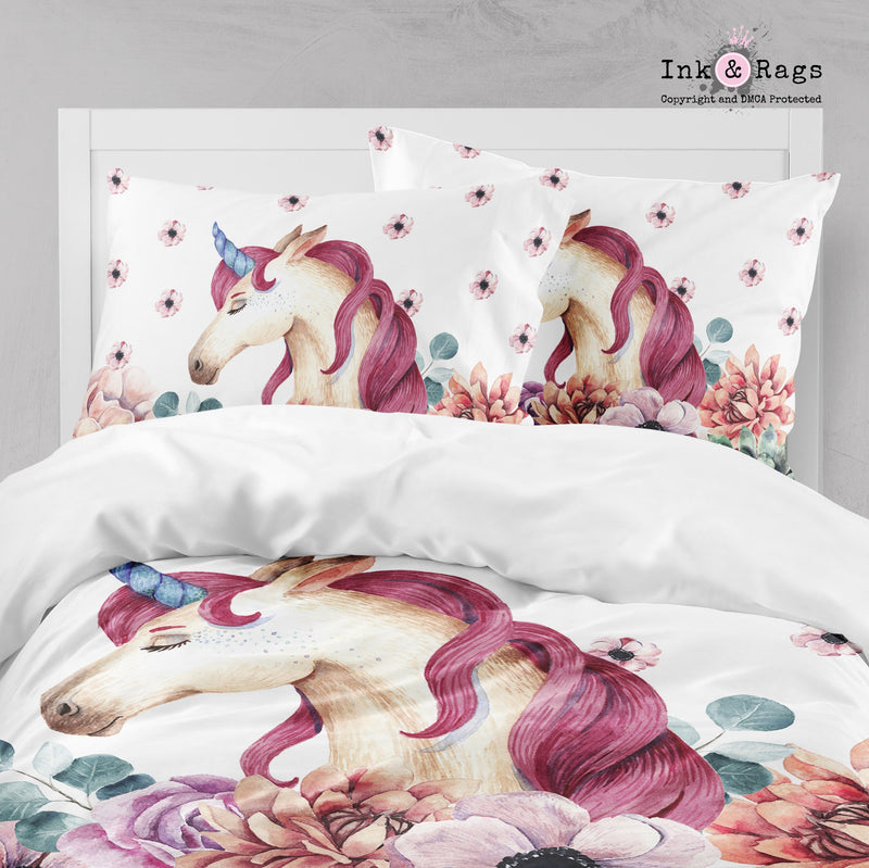 Sleepy Unicorn and Flower Big Kids Bedding