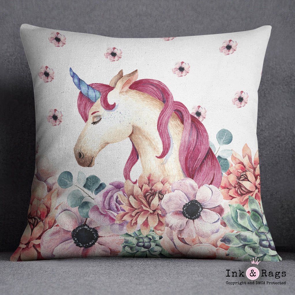 Sleepy Unicorn and Flower Throw Pillow