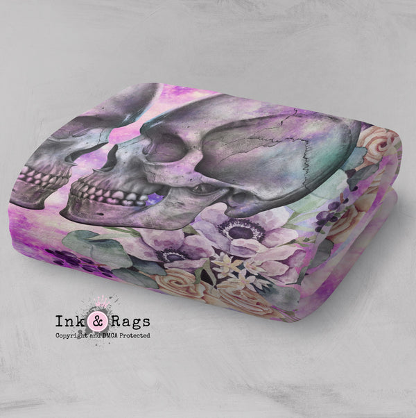 Galaxy Kissing Skulls and Flowers Faux Sherpa Blankets