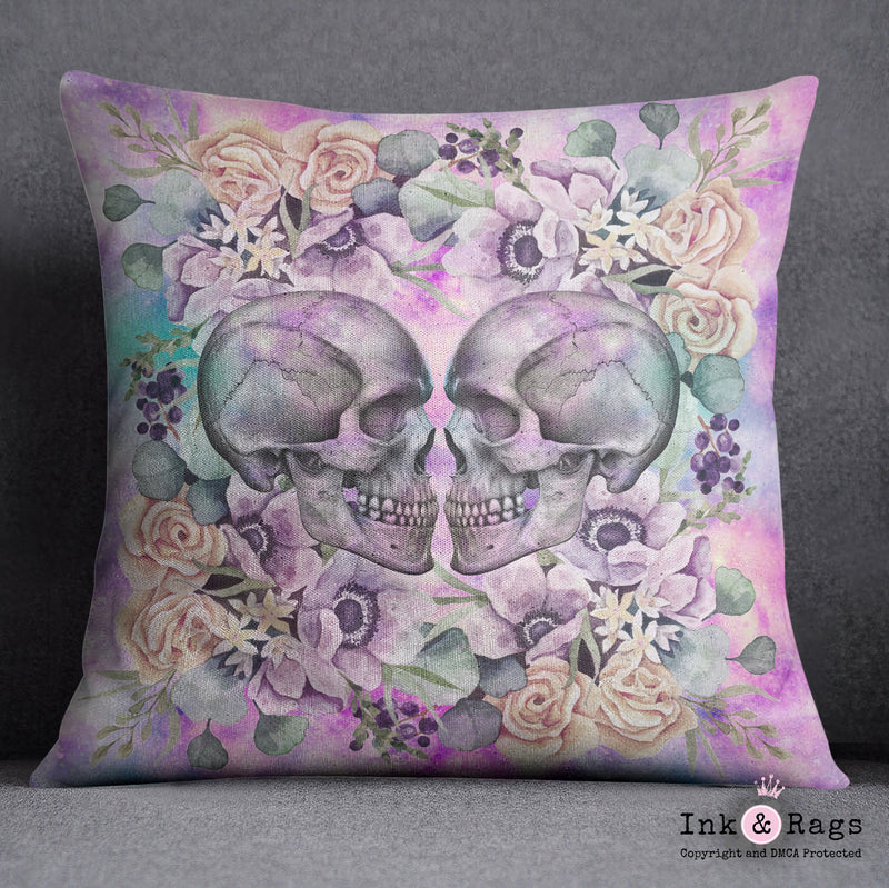 Galaxy Kissing Skulls and Flowers Decorative Throw Pillow Cover