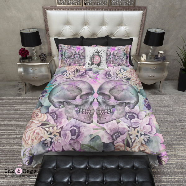 Galaxy Kissing Skulls and Flowers Bedding