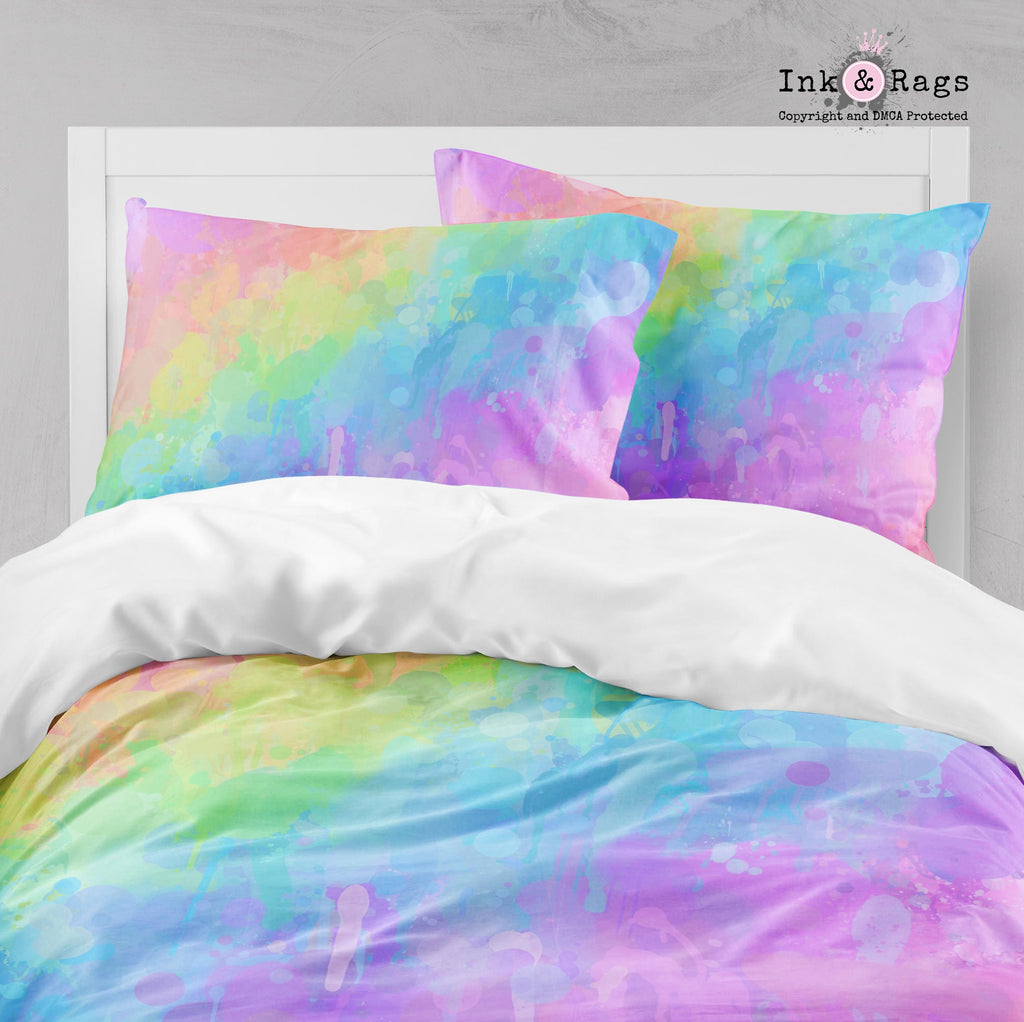 Rainbow Paint Splatter Big Kids Bedding