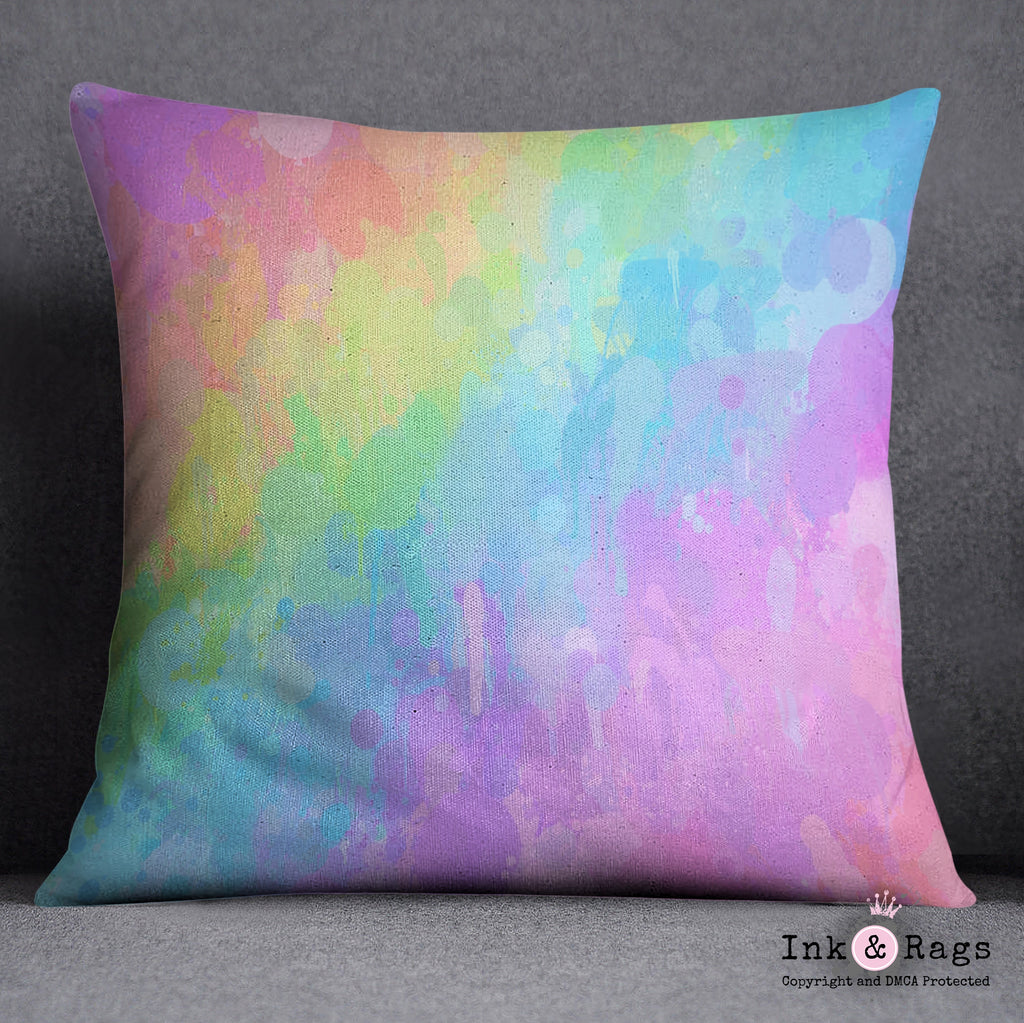 Rainbow Paint Splatter Throw Pillow