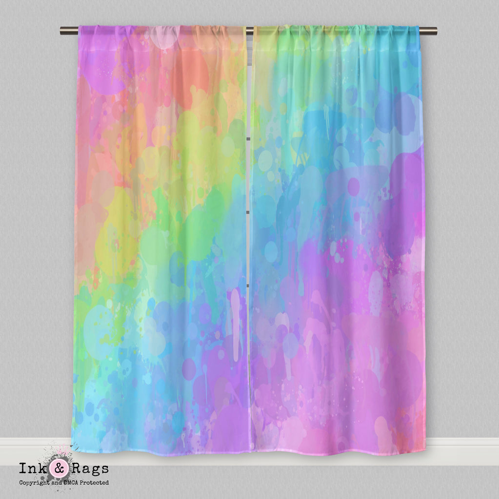 Rainbow Paint Splatter Curtains