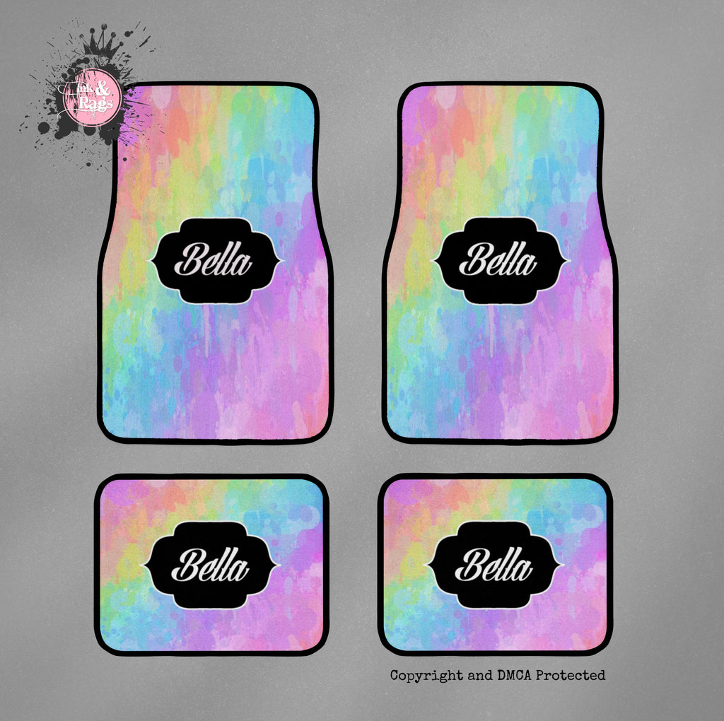 Rainbow Paint Splatter Car Mats
