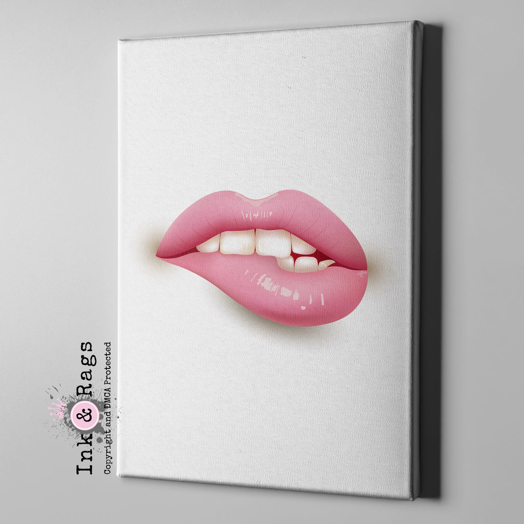 Pink Lips Gallery Wrapped Canvas