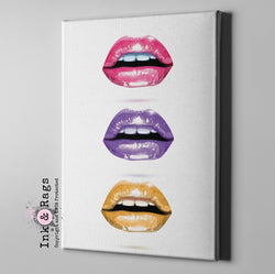 Lips Trio Pink Purple and Gold Lips Gallery Wrapped Canvas