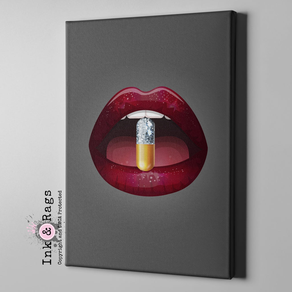 A Bitter Pill Lips Gallery Wrapped Canvas