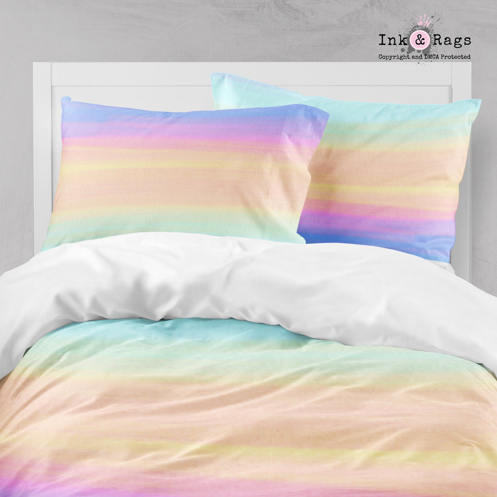 Ombre Watercolor Rainbow Big Kids Bedding