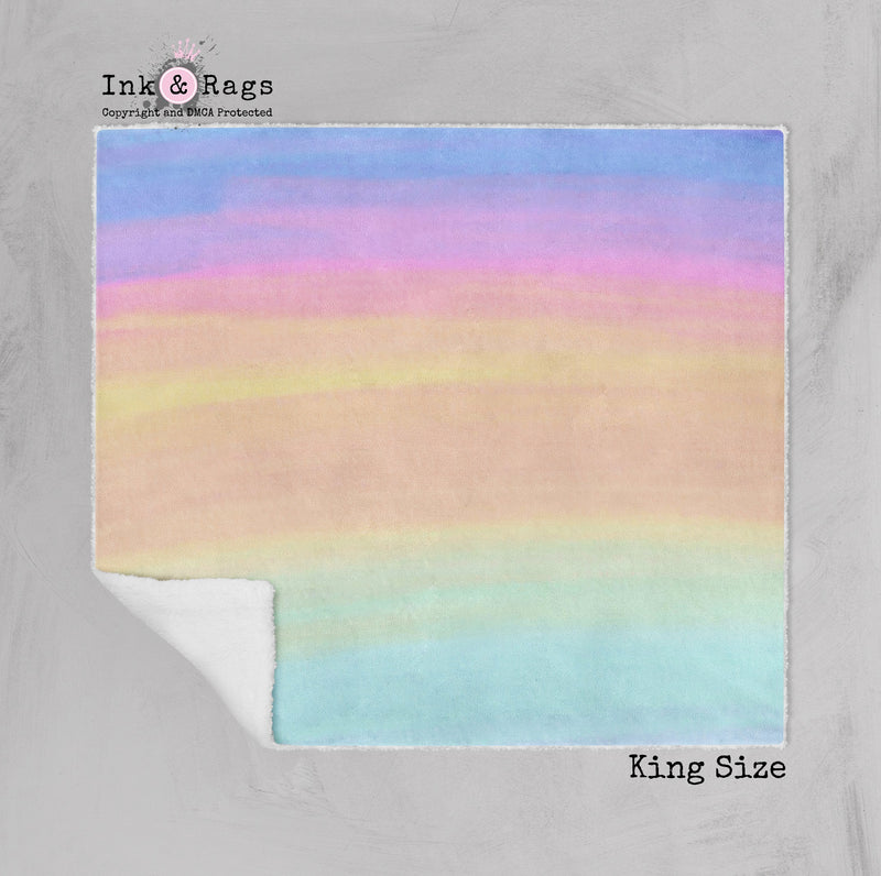 Ombre Watercolor Rainbow Faux Sherpa Blankets