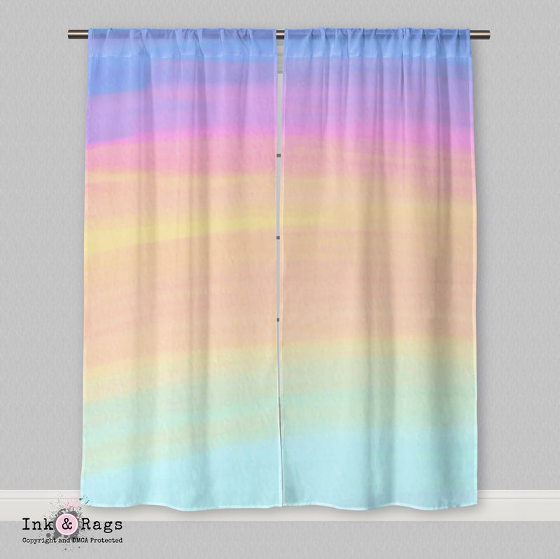Ombre Watercolor Rainbow Curtains